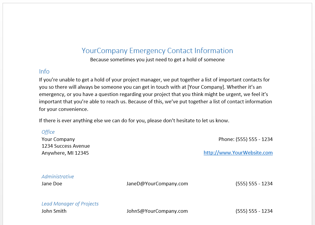 Emergency Contact Information Document